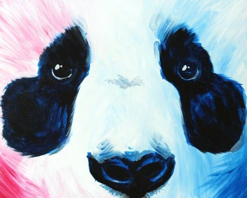 A Blue and Pink Panda paint nite project by Yaymaker