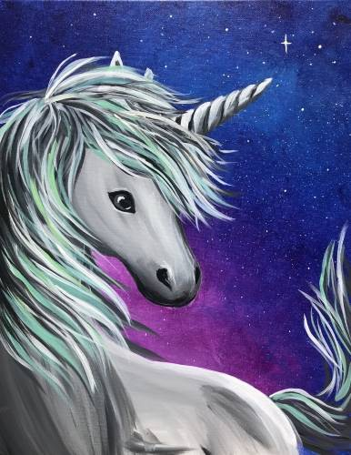 A Gray and Teal Unicorn paint nite project by Yaymaker