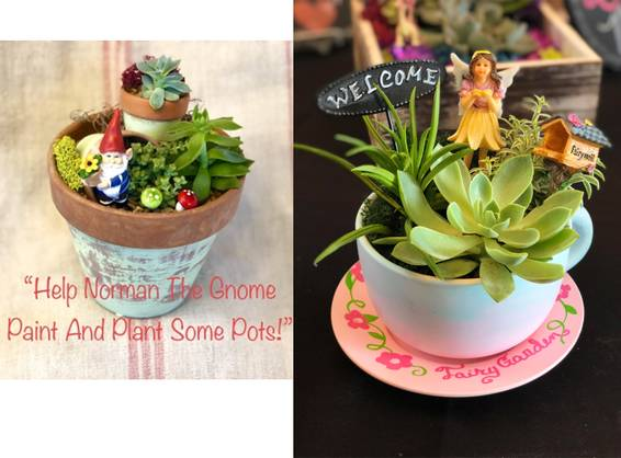 A Gnome or Fairy Garden Paint Your Pot or Teacup plant nite project by Yaymaker