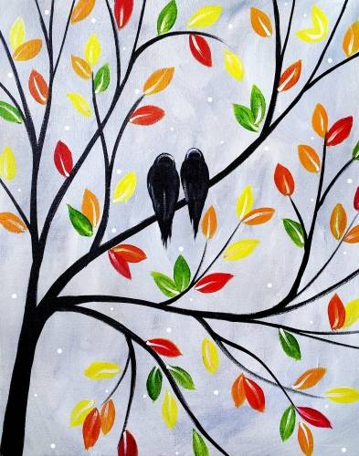 A Autumn Birds paint nite project by Yaymaker