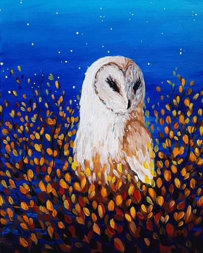 A Autumn Owl II paint nite project by Yaymaker