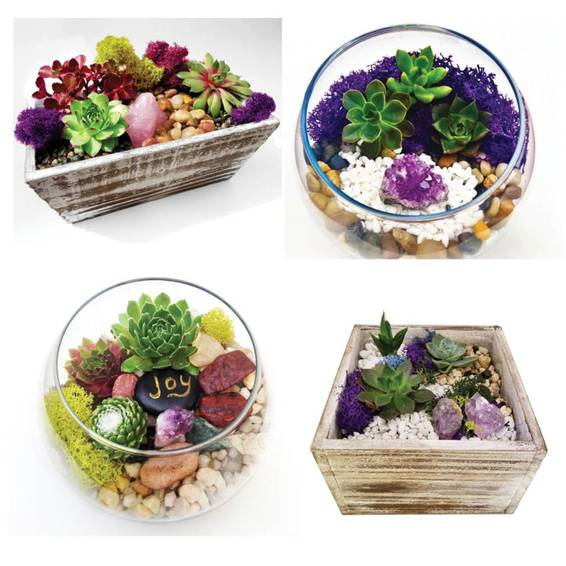 A You Pick Terrarium with Amethyst Wooden and Glass plant nite project by Yaymaker
