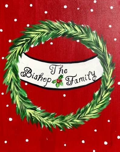 A Christmas Family Wreath paint nite project by Yaymaker
