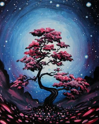 A Its a Space Bonsai paint nite project by Yaymaker