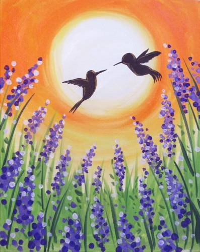 A Hummingbirds over Lavenders paint nite project by Yaymaker