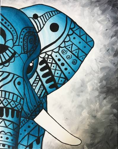 A Tribal Teal Elephant paint nite project by Yaymaker