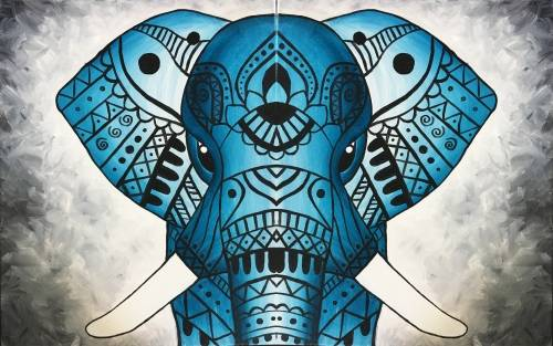 A Tribal Teal Elephant partner paint nite project by Yaymaker