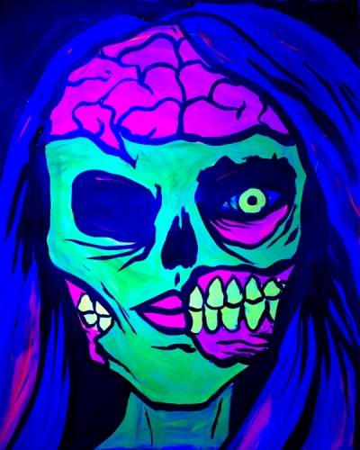 A BLACK LIGHT Zombie Girl paint nite project by Yaymaker
