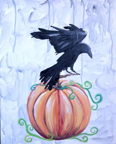 A Crow and Pumpkin paint nite project by Yaymaker