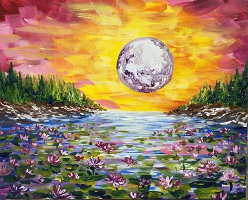 A Moonlit Lily Pond paint nite project by Yaymaker