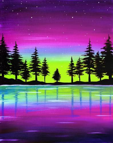 A Night Sky Magic paint nite project by Yaymaker