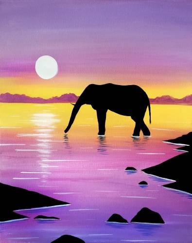 A Wading Elephant paint nite project by Yaymaker