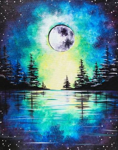 A Moonrise Over The Pines paint nite project by Yaymaker