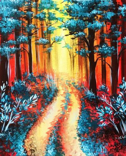 A Fall forest in red and teal paint nite project by Yaymaker