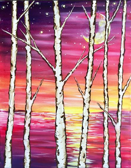 A Autumn Sunset Peaking Behind the Birches paint nite project by Yaymaker
