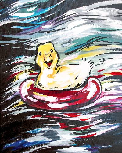 A Baby Duck Floating On Buoy paint nite project by Yaymaker