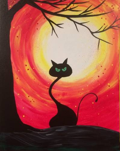 A Hallowmean kitty paint nite project by Yaymaker