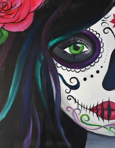 A Calavera Sugar Skull Babe paint nite project by Yaymaker