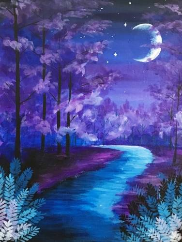A Violet Wandering Woods paint nite project by Yaymaker