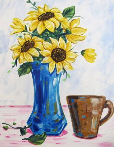 A Sunflowers and Coffee paint nite project by Yaymaker