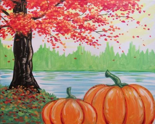 A Pumpkins Along the Lake paint nite project by Yaymaker