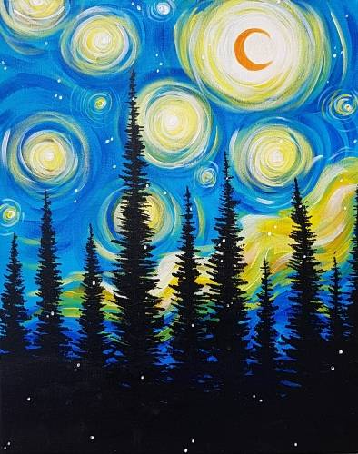 A Starry Pines paint nite project by Yaymaker