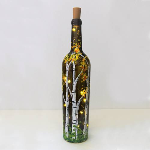 A Falling for Birches Wine Bottle with Fairy Lights paint nite project by Yaymaker