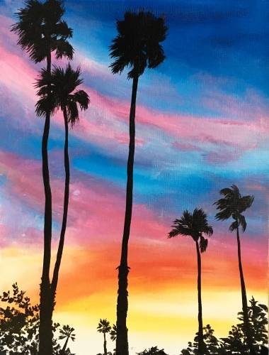 A Palm Desert Sunset paint nite project by Yaymaker