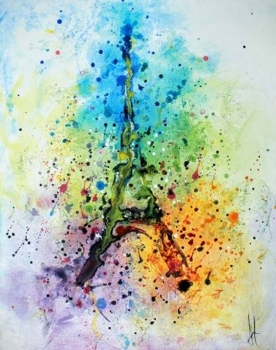 A Colorful Abstract Paris paint nite project by Yaymaker