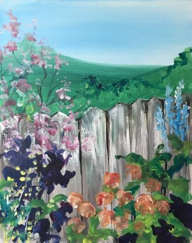 A Summer Garden by the Fence paint nite project by Yaymaker