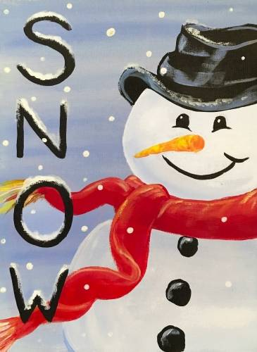 A SNOWman with a red scarf paint nite project by Yaymaker