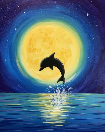 A Moonlight Dolphin Dance paint nite project by Yaymaker