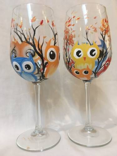A Who Wants Wine  Wine Glasses paint nite project by Yaymaker