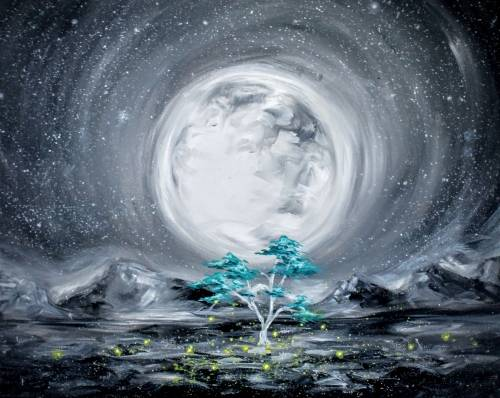A Moonlit Teal Tree paint nite project by Yaymaker