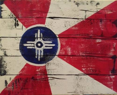 A Distressed ICT Flag paint nite project by Yaymaker