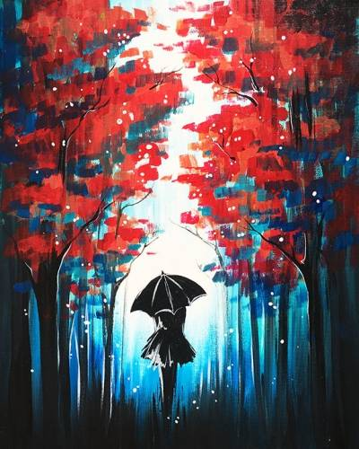 A Red Forest Black Umbrella paint nite project by Yaymaker