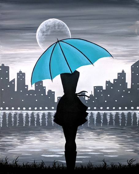 A Girl with the Teal Umbrella paint nite project by Yaymaker