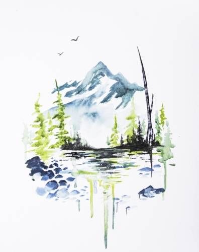 A Lake Louise Mountain Range paint nite project by Yaymaker