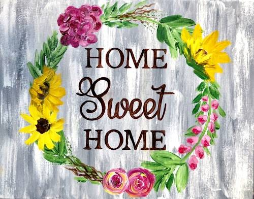 A Home Sweet Home Wreath paint nite project by Yaymaker
