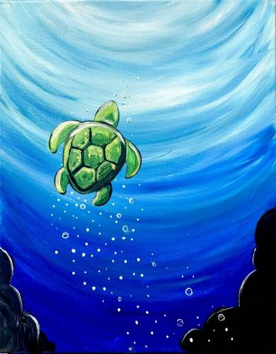 A Little Sea Turtle paint nite project by Yaymaker