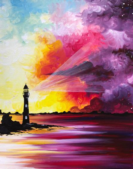 A Sorbet Sunset Lighthouse paint nite project by Yaymaker