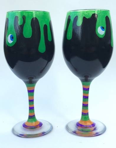 A Witches Brew Wine Glasses paint nite project by Yaymaker
