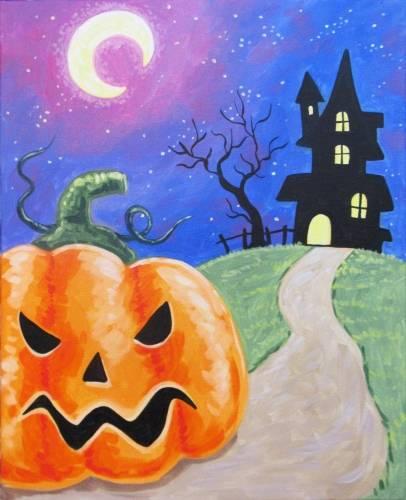 A Spooky Pumpkin Spooky House paint nite project by Yaymaker