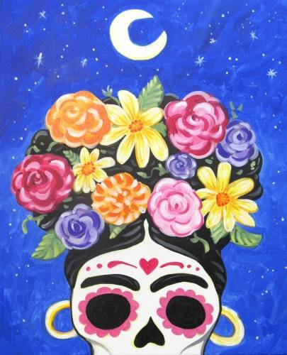 A Calavera de Frida Sugar Skull paint nite project by Yaymaker