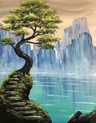 A Misty Mountain Lake paint nite project by Yaymaker