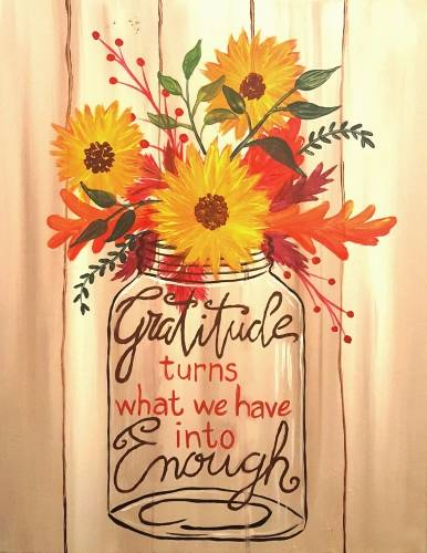 A Sunflowers of Gratitude paint nite project by Yaymaker