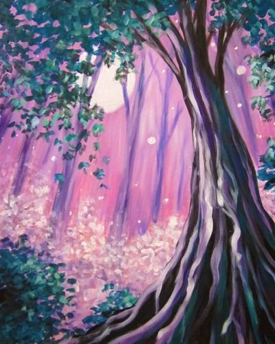 A Moonlit Forest Canopy paint nite project by Yaymaker