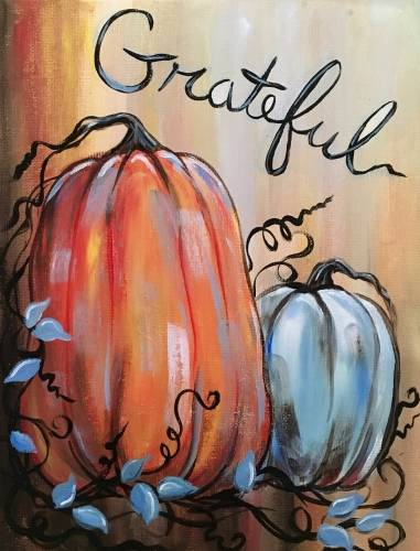A Gratefulness and Pumpkins paint nite project by Yaymaker