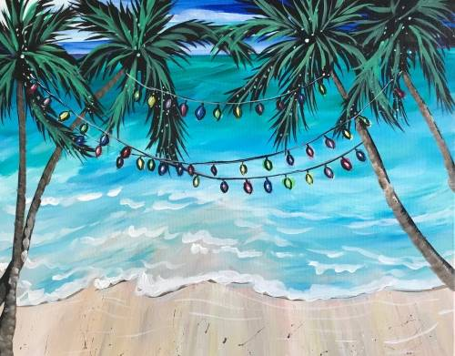 A Christmas Beach paint nite project by Yaymaker