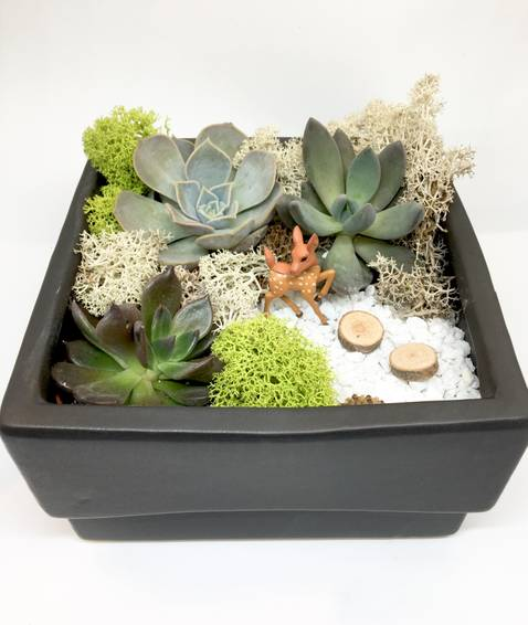 A Deer Path  Black Ceramic Square plant nite project by Yaymaker